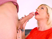 Sara St Clair wraps her big red lips around that big hard cock