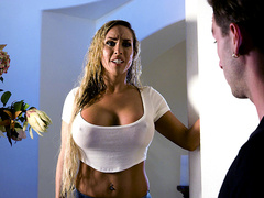 Stacked stepmom Tegan James was stranded during a big storm