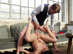 Julia De Lucia has her pussy and asshole jack hammered