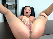 Jasmine Jae anal creampie in the office