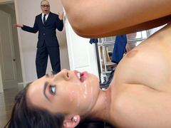 Melissa Moore caught by her father with cum on her face
