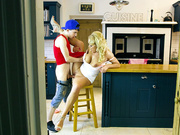 Hot mommy Rebecca Jane Smyth fucked in the kitchen by young Jordi