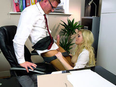 Horny boss Katy Jayne rips the pants off the IT guy