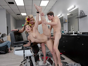 Skinny guy fucking two slutty salon sluts Abella Danger and Phoenix Marie