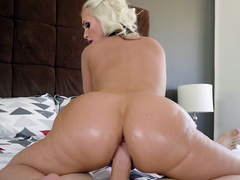 Big ass blonde Alena Croft reverse cowgirl pov