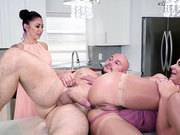 Wife Phoenix Marie gets her pussy creampied on the counter top