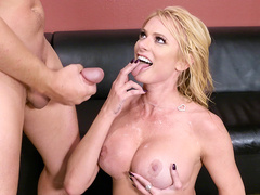 Brianna Banks licks up every drop of cum shot on her big boobs