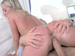Blonde Cayla Lyons joyfully riding the big cock
