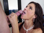 Syren De Mer gets a facial cumshot from her stepdaughter's husband to be