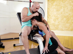 Teen Olivia Lua gives nice blowjob to Jmac in the gym