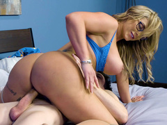 Blonde mom Eva Notty riding the hard boner cowgirl style