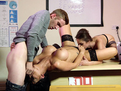 Jasmine Jae gets mouth fucked by Danny D and pussy licked by Cathy Heaven