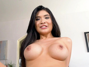 Cute busty asian Brenna Sparks riding cock pov style