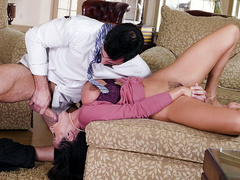 Busty latina mommy Ariella Ferrera gets fed a hard cock down her throat