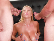 Vanessa Cage gets a double facial in threesome