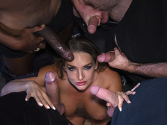 Blonde slut Cali Carter gets swarmed by big hard cocks