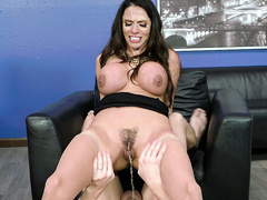 Busty brunette latina milf Ariella Ferrera riding and squirting