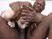 Redhead Alexa Nova guzzles the big black cock