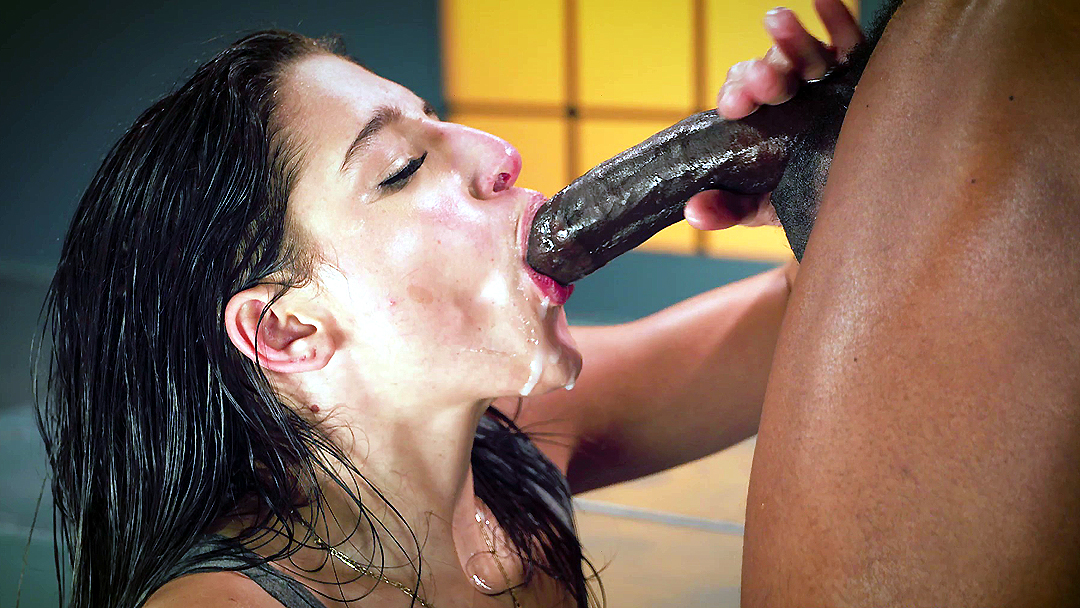 Big black cock facial