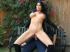 Romi Rain rides Keiran on the bench reverse cowgirl style