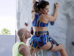 Rock climber Abella Danger gets ass worshipped by Johnny Sins