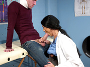 Doctor Ania Kinski performs oral examination on patient's huge cock