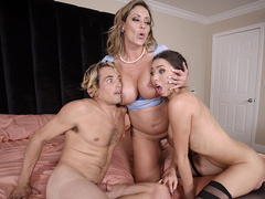 Eva Notty grabs Melissa Moore and her boyfriend after sharing a facial