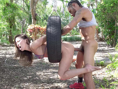 Hot asian Kalina Ryu gets fucked doggy style threw a tire