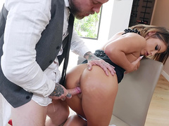 Adriana Chechik bent over and fucked in a restaurant