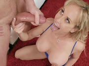 Brandi Love hold her son-in-law's balls while he cums in her mouth