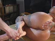 Danny D fires of some cumshots all over Susy Gala feet and ass