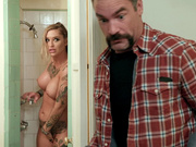 Kleio Valentien gets caught masturbating in the shower by the motel manager