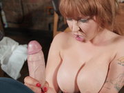 Busty Chef Ashleigh Devere devours her clients huge cock