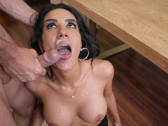 Happy boss Tia Cyrus tastes a load of cum from her employee at the office