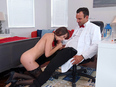 Lexi Luna sucks on the mad scientist's big dick