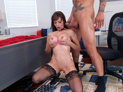 Sexy Lexi Luna takes a cumshot on her tits from Dr. Legend