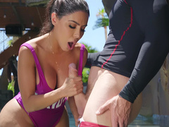Lela Star jerks off and sucks on Johnny Sins huge cock in the pool