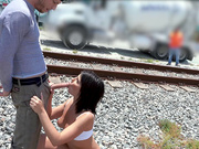 Adriana Chechik having public outdoor sex at the train yard