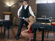 Cheating wife Kat Dior gets caught taking a facial cumshot from the young waiter