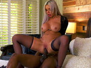Busty Mom Nina Elle cowgirl rides her son's friend Isiah Maxwell's huge black cock