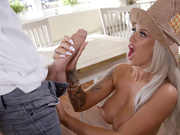 Busty blonde Brooklyn Blue pulls out Danny D's huge cock