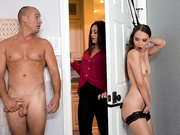 Izzy Lush gets tied up and fucked behind the bedromm door