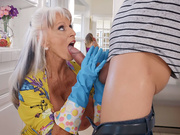 Busty mature Sally D'Angelo fills her mouth with nice hard young cock