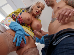Monster boobed mature Sally D'Angelo simply loves a big hard cock