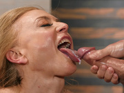 Mature babe Nina Hartley tastes her massage therapist's cum