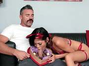 Asian Vina Sky enjoys hard cock and chocolates