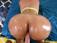 Round ass Rose Monroe oiled up and fucked doggy style