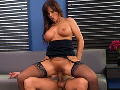 Busty boss lady Syren De Mer rides her employees hard cock in the office