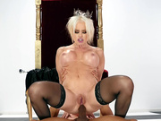 Qeen Nikki Delano rides Ricky Johnson's big black cock in her ass