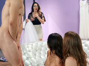 Teen Danni Rivers and stepmom Eva Long gets caught fucking at the wedding store